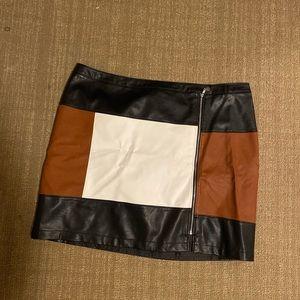 Faux leather color block mini